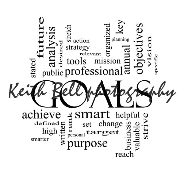 Goals Word Cloud Concept in black and white with great terms such as planning, missions, smart, set, high and more.
