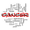 Cancer Word Cloud Concept in Red Caps with great terms such as disease, chemo, survivor, patient, doctor and more.