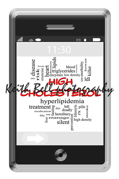 High Cholesterol Word Cloud Concept on Touchscreen Phone