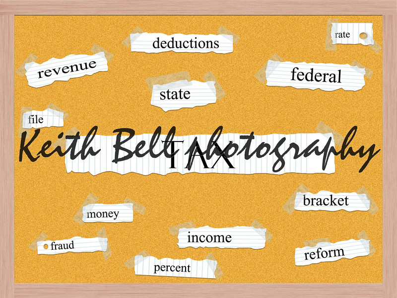Tax Corkboard Word Concept with great terms such as revenue, deductions, income, reform and more.