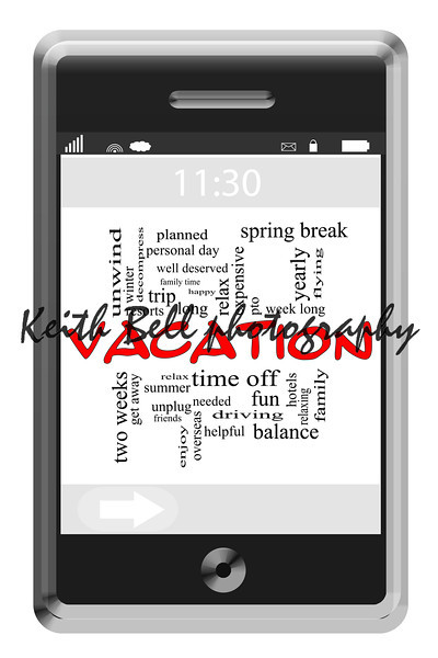Vacation Word Cloud Concept on Touchscreen Phone