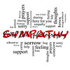 Sympathy Word Cloud Concept in Red Caps with great terms such as sorrow, feelings, loss, support, prayers, thoughts and more.