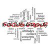 Focus Group Word Cloud Concept in red caps