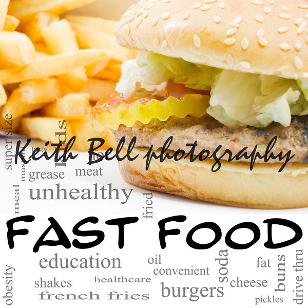 A burger and fries fast food Word Cloud Concept with great terms such as unhealthy, fat, grease, hamburger, meal and more.