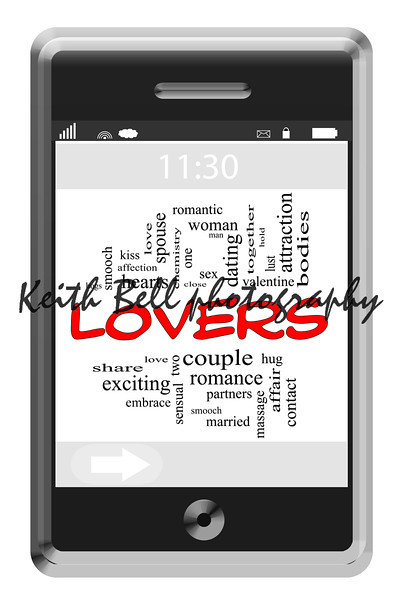 Lovers Word Cloud Concept of Touchscreen Phone with great terms such as romance, couple, sex, attraction and more.