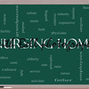 Nursing Home Word Cloud Concept on a Blackboard with great terms such elderly, care, loving, aging as and more.