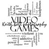 Video Games Word Cloud Concept in black and white with great terms such as addictive, violent, children, play, rating, fun and more.