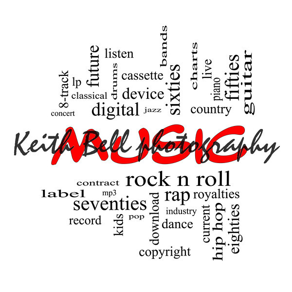 Music Word Cloud Concept in red caps with great terms such as rock n roll, rap, pop, download, lp and more.