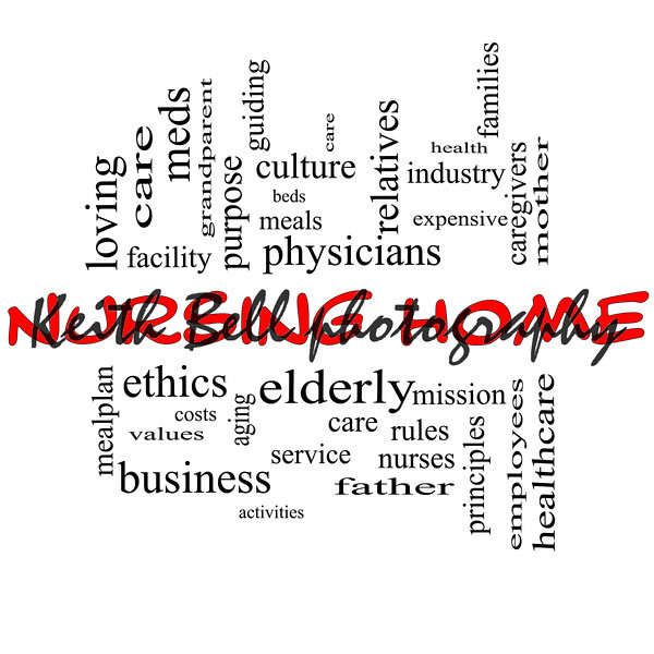 Nursing Home Word Cloud Concept in red and black with great terms such elderly, care, loving, aging as and more.