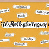 Happy New Year Corkboard Word Concept with great terms such as fireworks, party, ball drop song and more.