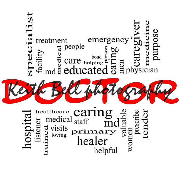 Doctor Word Cloud Concept in red and black
