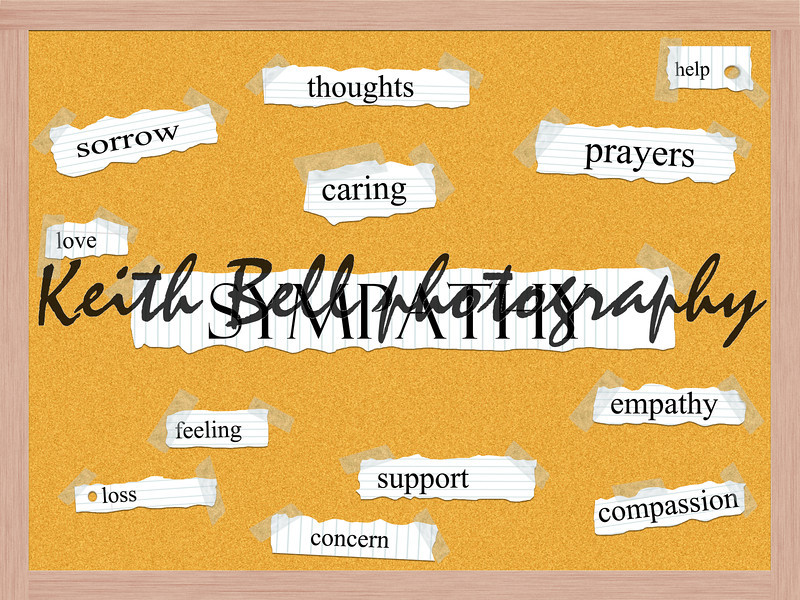 Sympathy Corkboard Word Concept with great terms such as sorrow, thoughts, caring and more.