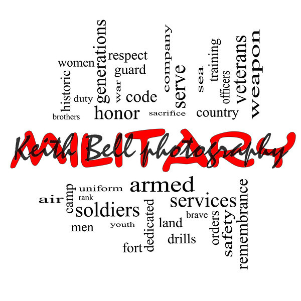Military Word Cloud Concept in Red Caps with great terms such as honor, sacrifice, country, brave and more.