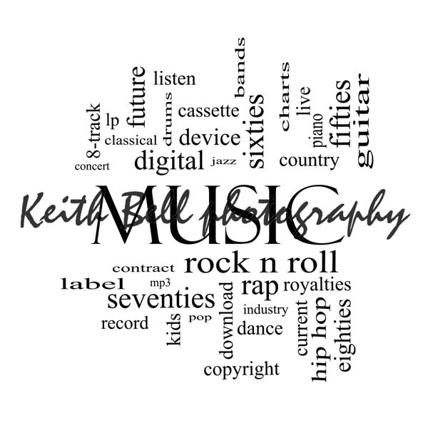 Music Word Cloud Concept in black and white with great terms such as rock n roll, rap, pop, download, lp and more.