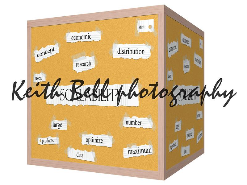 Scalability 3D cube Corkboard Word Concept