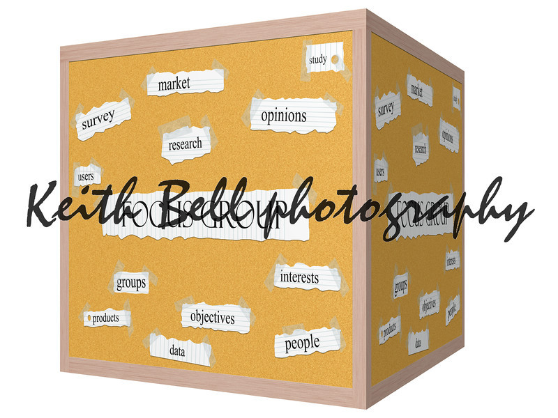 Focus Group 3D cube Corkboard Word Concept