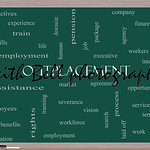 Outplacement Word Cloud Concept on a Blackboard