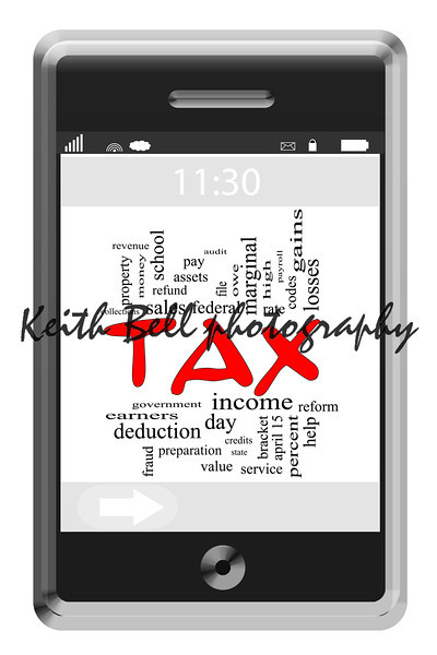 Tax Word Cloud Concept of Touchscreen Phone with great terms such as and more.