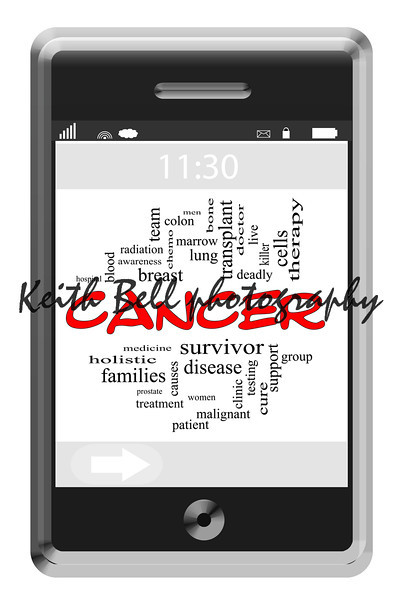 Cancer Word Cloud Concept of Touchscreen Phone with great terms such as radiation, chemo, patient, doctor and more.