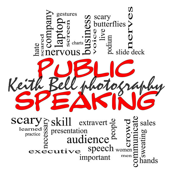 Public Speaking Word Cloud Concept in red caps with great terms such as business, slide deck, podium, nervous and more.