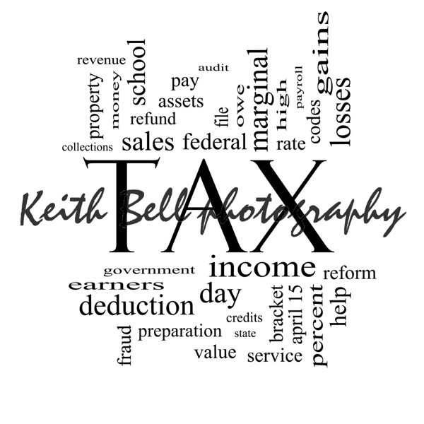 Tax Word Cloud Concept in Black and White with great terms such as rate, federal, state, income, codes and more.