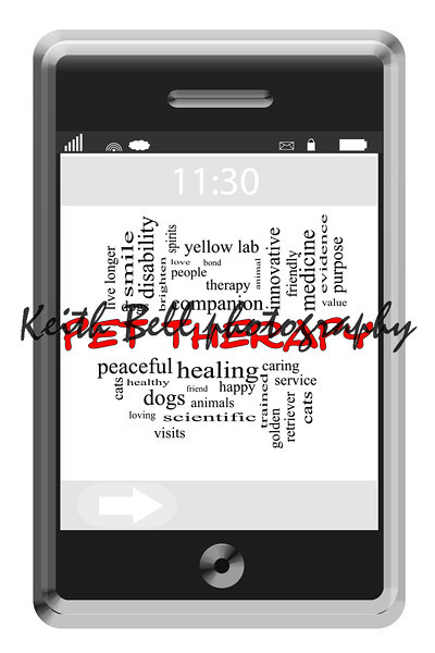 Pet Therapy Word Cloud Concept on Touchscreen Phone