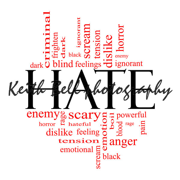 Hate Word Cloud Concept Black with red words