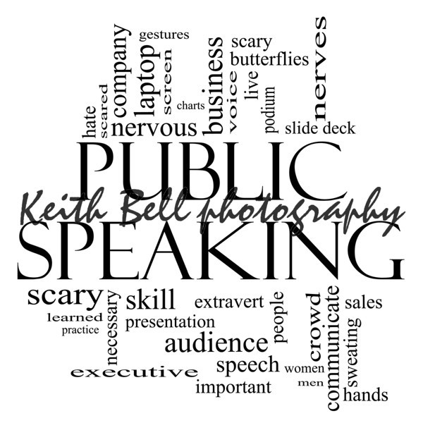 Public Speaking Word Cloud Concept in black and white with great terms such as business, slide deck, podium, nervous and more.