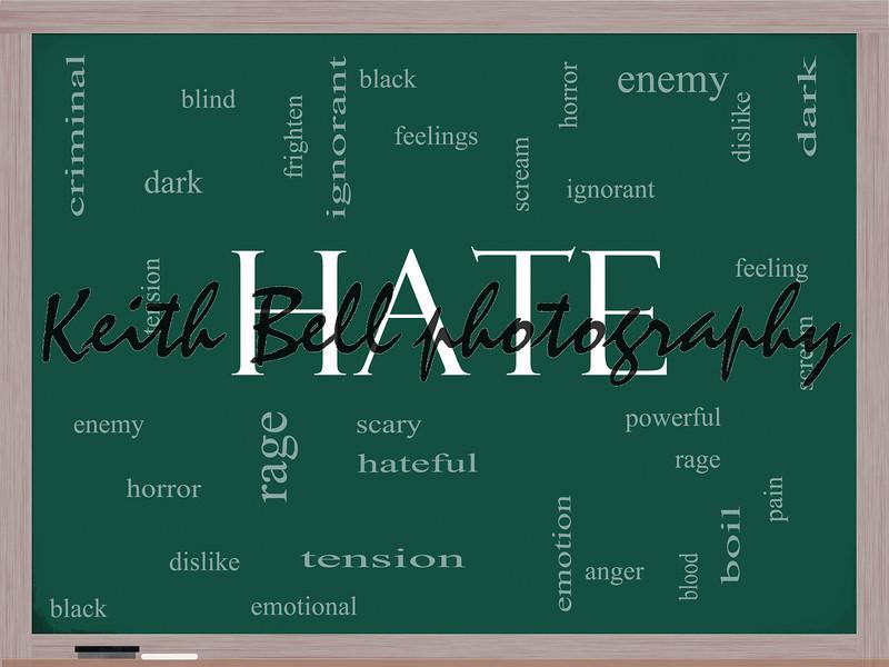 Hate Word Cloud Concept on a Blackboard