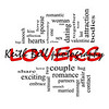 Lovers Word Cloud Concept in Red Caps with great terms such as smooch, sensual, chemistry, sex, lust and more.