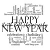 Happy New Year Word Cloud Concept in black and white with great terms such as celebration, holiday, countdown, kiss and more.