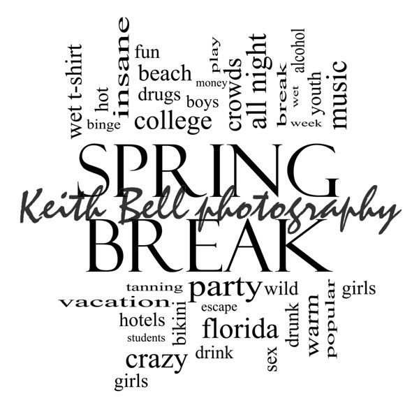 Spring Break Word Cloud Concept in Black and White with great terms such as girls, wild, college, drunk, party and more.