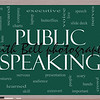 Public Speaking Word Cloud Concept on a Blackboard with great terms such as business, slide deck, podium, nervous and more.