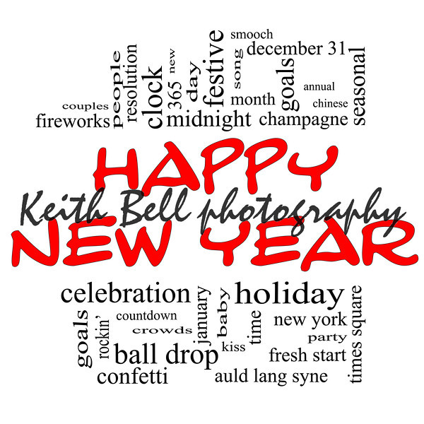 Happy New Year Word Cloud Concept in red and black with great terms such as celebration, holiday, countdown, kiss and more.