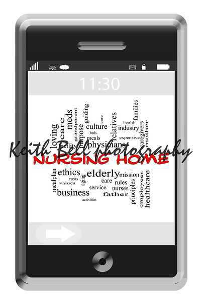 Nursing Home Word Cloud Concept of Touchscreen Phone with great terms such as elderly, care, facilities and more.