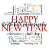 Happy New Year Word Cloud Concept with great terms such as celebration, holiday, countdown, kiss and more.