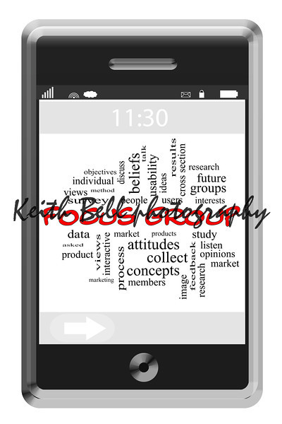Focus Group Word Cloud Concept on a Touchscreen Phone