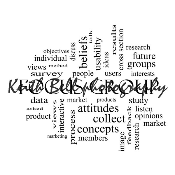Focus Group Word Cloud Concept in black and white
