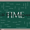Time Word Cloud Concept on a Blackboard with great terms such as day, hours, minutes, clock, date, seconds and more.
