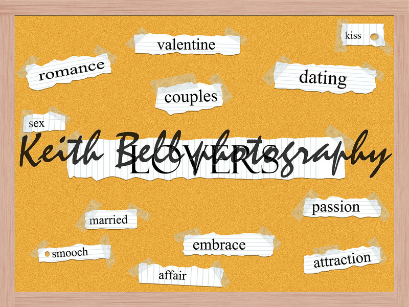 Lovers Corkboard Word Concept with great terms such as romance, valentine, couples, kiss and more.