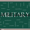 Military Word Cloud Concept on a Blackboard with great terms such as honor, sacrifice, country, brave and more.