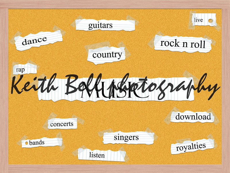 Music Corkboard Word Concept with great terms such as dance, country, rap, listen and more.