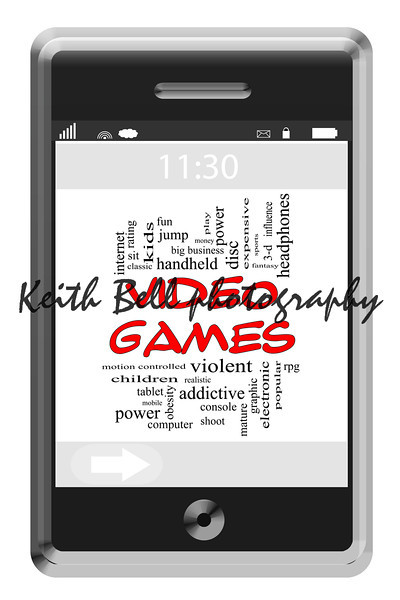 Video Games Word Cloud Concept of Touchscreen Phone with great terms such as violent, children, play, mature, shoot and more.