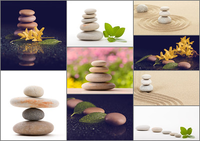 Spa collection, collage of balancing zen pebble stones