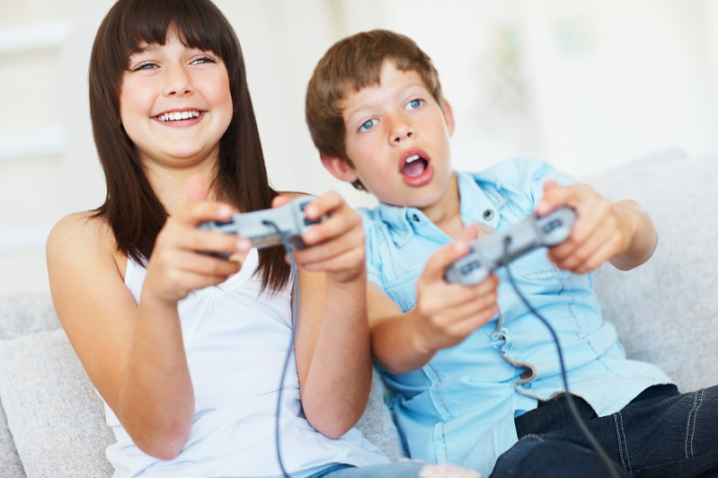 Happy two children playing games and having fun