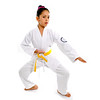 sweet latin little girl training body defence position like karate kid