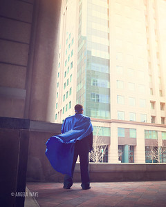 Brave Super Business Man Standing in City
