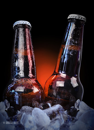 Ice Cold Class Beer Bottles on Black