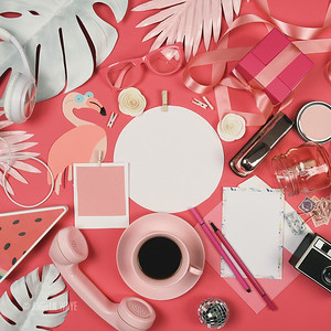 Pretty Pink Party Flat Lay with Copyspace