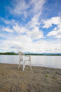 Plastic Chair on Sand Beach
